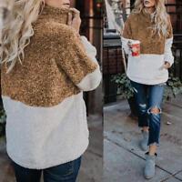 Women Winter Autumn Half Zip Pullover Sweatshirt High Neck Long Sleeve Top Coat