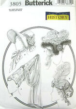 BUTTERICK PATTERN 3805 OOP HISTORICAL VICTORIAN MEDIEVAL PERIOD HATS SIZES S-M-L