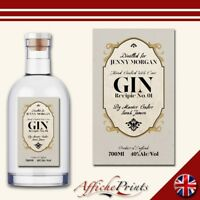 L165 Personalised Vintage Style Gin Alcohol Fun Custom Bottle Label Perfect Gift