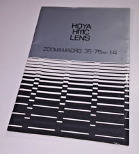 The instruction book for the Hoya HMC 35-75mm f4 Maco Zoom lens from 1980