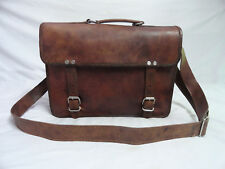 "Real Leather Briefcase 13"" Macbook Satchel Attache School Messenger Bag Suitcase"
