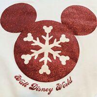 Walt Disney World Mickey Mouse Holiday White Red Christmas Sweatshirt Size Large