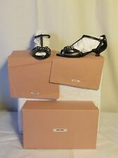 chaussures  MIU MIU cuir noir et fausses pierres 36