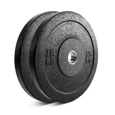 """15 lb. PAIR Olympic Rubber Bumper Plates, Fits 2"""" Diameter Barbell"""