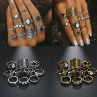 10PCS Women Lady Boho Vintage Silver/Gold Punk Knuckle Finger Midi Rings Set