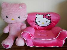 "Build a Bear BABW Hello Kitty chair + 18"" pink checkered waffle fur plush no bow"