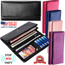 Women's Full Grain Leather Large Capacity Cell Phone Holder ID Clutch Wallet