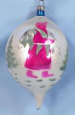 Christmas Ornament Mercury Glass Blown Pink Woman Carrying Tree Blue Oval #204