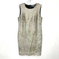 DKNYC Women's  Size 10 Fitted Gold White Metallic Sequin Cocktail Dress