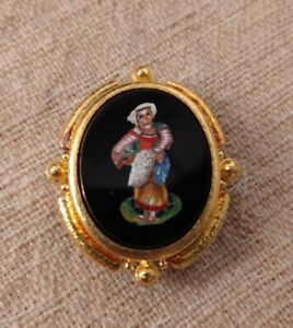 Rare Elizabeth Locke 19K Gold & Micromosaic & Onyx Peasant Pin/Pendant