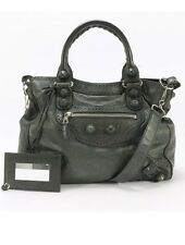 BALENCIAGA Moss Green Soft Leather Giant Covered Brogues Velo Satchel Handbag