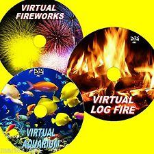 VIRTUAL FISH TANK LOG FIRE & FIREWORKS 3 DVDs VIEW ON PLASMA LED LCD TVs NEW