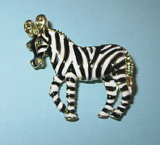 Zebra Pin Black White Stripes Green Crystal Eyes Gold Tone New Wild Animals
