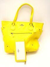 NEW Coach Micke Leather Tote Gunmetal Yellow F34039 Wristlet & Full Zip wallet