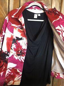 Women's Laura Ashley Pink Multi Color Button Front Jacket Plus Size 1X