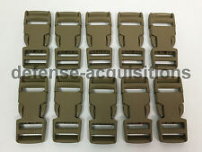 LOT OF 10 - Side Release Side Squeeze Dual Adjust Buckle 1 INCH - TAN