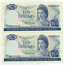 2 X $10 NEW ZEALAND NOTE CONSECUTIVE PAIR BANKNOTES WILKS F+ 1968-75 QEII P166b