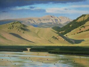Dave McNally Evening on the Refuge Oil Painting on Panel 30x40 Mountains Lake