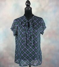 Charlotte Russe Women's Top Size Large Green & Blue Plaid Short Sleeve Sheer