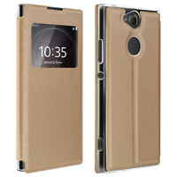 Window flip case, flip wallet case with stand for Sony Xperia XA2 - Gold