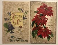 Lot of 2 Antique Winsch New Year Postcards Poinsettias & Jan.1st~Flowers-b787