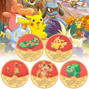 5pcs Pokemon Pikachu Coin Japan Anime Gold Commemorative Coin for Children Gifts