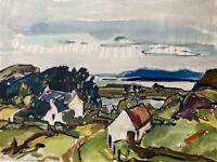 Häuser am Meer signiertes Aquarell Expressiver Realismus 48 x 63 cm