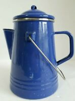Enamelware Blue White Speckled Lidded Coffee Pot with Handle Outdoor