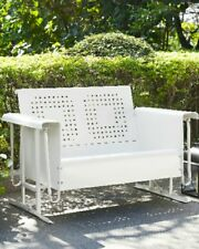 New Southern Style Bates Loveseat Glider WHITE patio poolside outdoor furniture