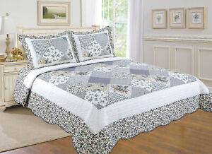ALL FOR YOU Reversible Bedspread, Coverlet,Quilt  *105* Gray patchwork prints