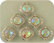 2 Hole Beads Crystal 8mm Aurora Borealis Swarovski Elements Gala ~Sliders ~QTY 6
