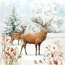 Servietten 20, Serviettentechnik Deer In Snow Hirsch Ambiente 33 x 33