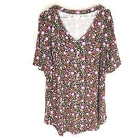 Lularoe Iris V Neck Shirt NWT 2XL Beautiful Floral Amazing Print NEW