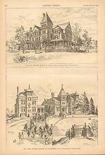 NY. Vassar Bros. Hospital At Poughkeepsie, New Executive Masion At Albany, Print