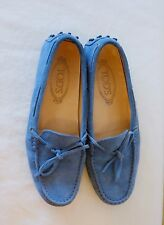 Tod's Gommino Blue Suede Driving Loafers Women's Size 38