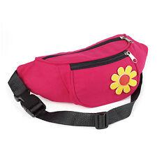 Ladies Girls Retro Bum Bag - Fuchsia Pink & Yellow Flower Design - Brand New