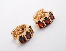 Red + Golden Unisex Small Hoop Geometric Cubic Zirconia Classic Earrings Gift