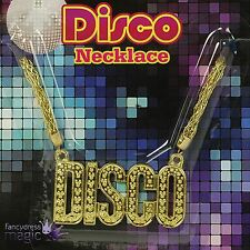 *Disco 70s 80s 90s Gold Medallion Chain Necklace Fancy Dress Costume Accessory*