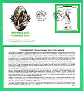 Venda 1989 Vulnerable Birds first day cover FDC Polemaetus bellicosus minisheet