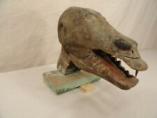 Antique Macabre Folk Art Wood Carved Head Primitive 19Th Century Sculpture Vtg