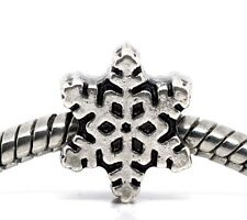 Snowflake Snow Flake Christmas Holiday Winter Charm for European Bead Bracelets