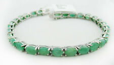 GENUINE 17.38 Cts EMERALDS BRACELET .925 Sterling Silver *** 10.33 Grams