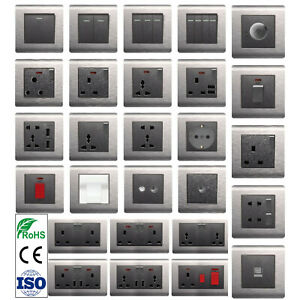 Chrome Light Switches and Sockets USB Full Range Electric Switch Brushed Steel