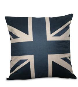 Blue Union Jack cushion cover, London, flag, air force blue, grey blue