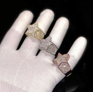 Mens Iced Bussdown Star Ring Cubic Zirconia Rose Gold Plated Rap Shine Sparkle