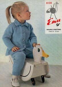 """Emu 8130 Vintage Girl Jacket Leggings Knitting Pattern Repro DK 21-22"""" 1-2 yrs"""