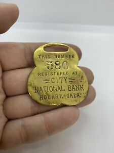 Vintage Brass National Bank Registered Deposit Box Fob Tag