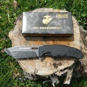 US Marine Corp Folding Knife Stone Wash Finish Blade G10 Handle