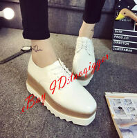 Womens Shoes Lace Up Creepers College Platform Wedge High Heels British Brogue