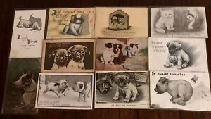 Lot of 11 Vintage Postcards with DOGS puppies ~some Comic postcards-h936